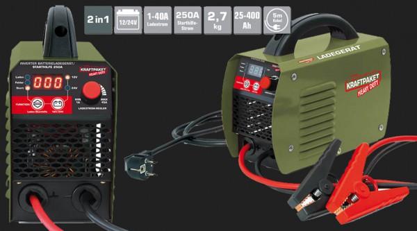 Dino Vollautomatisches 4-Schritt Batterieladegerät mit 1-40A (regelbar) Ladestrom für 12V/24V Batterien & Starthilfe bis 250A