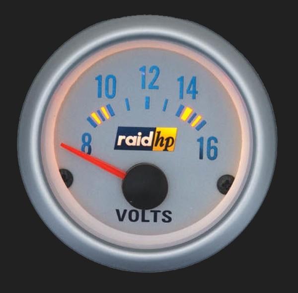 raid hp Zusatzinstrument 52mm Voltmeter Silver-Line