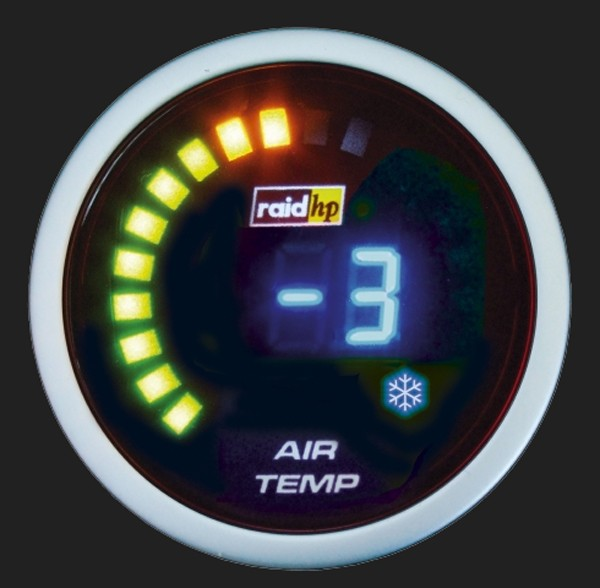 raid hp Zusatzinstrument 52mm Thermometer Night Flight Digital Blue