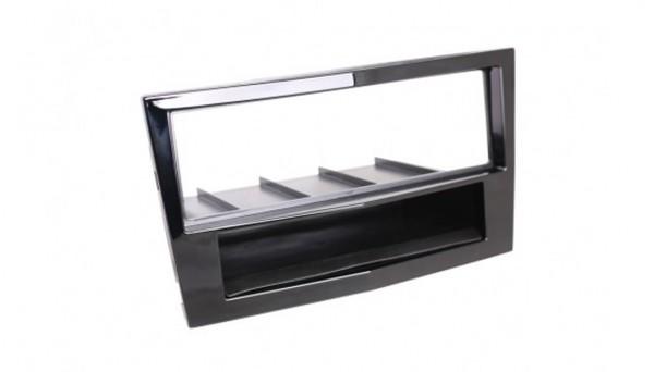 RTA 1-DIN Radioblende -mit Knick- für Opel Astra H, Corsa D, Zafira B, schwarz glänzend