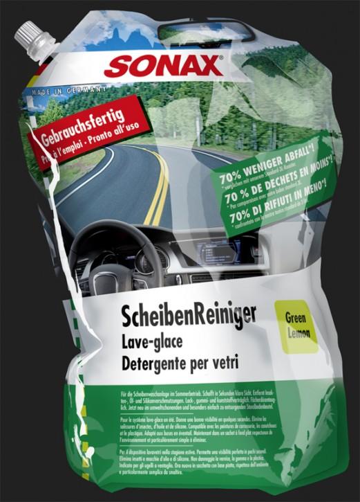 SONAX Scheiben Reiniger Sommer Gebrauchsfertig Green Lemon im Standbodenbeutel (3 Liter)