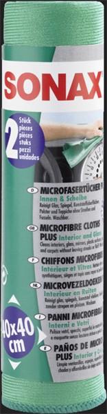 SONAX Microfaser Tuch PLUS Innen & Scheibe (2 Stück)