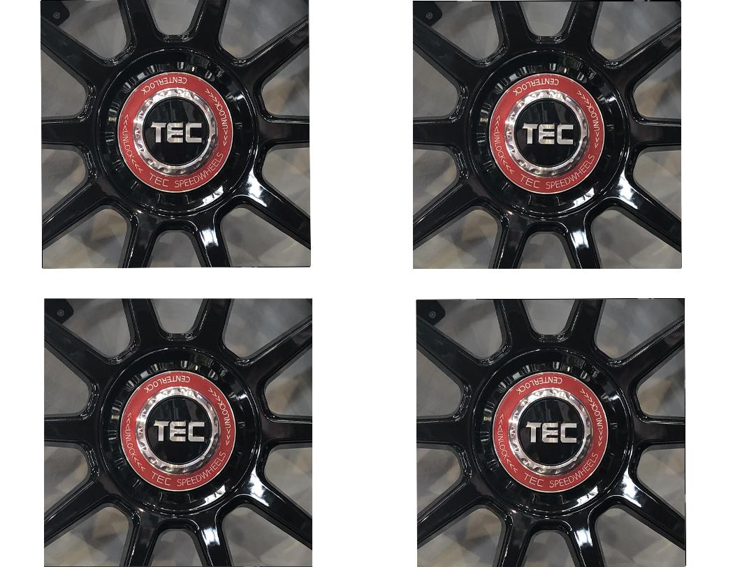 TEC ALU-Zentralverschluss-Decke-Set in Schwarz-Glanz für Alufelge GT8