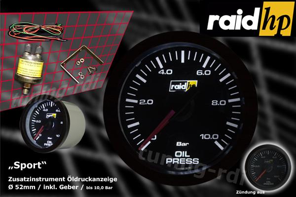 raid hp zusatzinstrument 52mm ldruckanzeige serie sport. Black Bedroom Furniture Sets. Home Design Ideas
