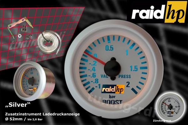 raid hp zusatzinstrument 52mm ladedruckanzeige silver line. Black Bedroom Furniture Sets. Home Design Ideas