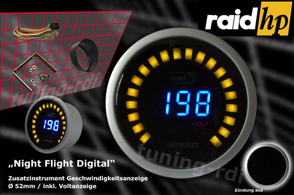 raid hp zusatzinstrument 52mm tacho night flight digital. Black Bedroom Furniture Sets. Home Design Ideas