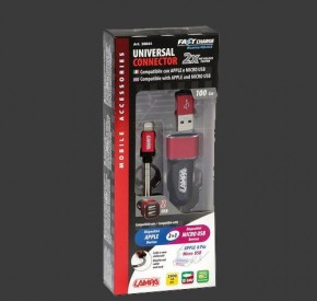 LAMPA USB Ladekabel Zig.stecker 12/24V (2,5A) LIGHTNING/MICRO USB - FAST CHARGE